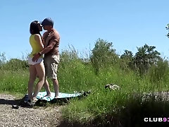 Teen honey rides dick in nature