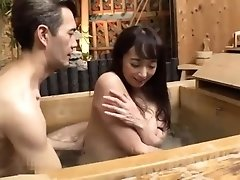 Enticing Japanese milf with big boobs worships a meat pole