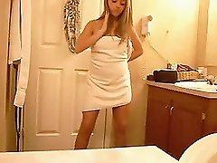 Cute teen dancing naked in the bathroom