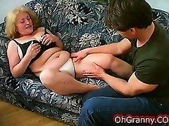 busty blonde granny fingered