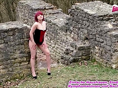 german amateur redhead outdoor skinny fuck