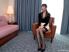 Konoka Yura likes to ride on her lover's hard penis on the armchair