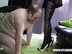 Submissive slut sucking high heel shoe for satin panties