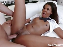 Cute ebony coed chick Zoey Reyes would love to be pile driven hard