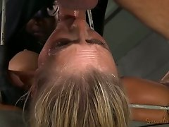 Restrained Big titted blonde Angel Allwood is fucked by BBC
