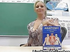 Lusty and busty blonde teacher shows female anatomy