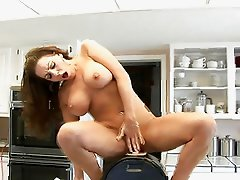 Victoria Valentino rides the sybian and gets fuck on table